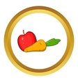 Apple and carrot icon cartoon style vector image vector image
