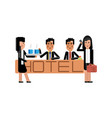 asian receptionists at hotel reception desk vector image
