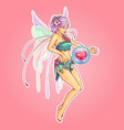 beautiful spring pink fairy with iridescent wings vector image