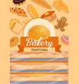 bread and bakery food sweets and pastry shop vector image vector image