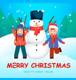 cheerful kids playing near big snowman vector image