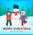 cheerful kids playing near big snowman vector image
