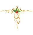 christmas gold ribbon vector image vector image