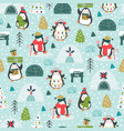 christmas seamless pattern with cute penguins vector image vector image