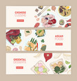 collection of horizontal web banners with asian vector image vector image
