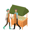couple in store kiosk with vegetables avatar vector image