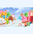cupcake gift box winter sweet landscape christmas vector image vector image