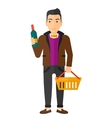 Customer with shopping basket and bottle of wine vector image