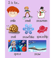 Different words begin with letter S vector image vector image