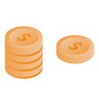 dollar coins icon isometric style vector image vector image