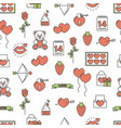 flat line art love seamless pattern vector image