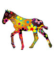 foal silhouette with flowers and dots pattern vector image vector image