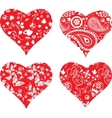 Four heart silhouettes vector image vector image