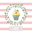 greeting card invitation in a pink strip vector image vector image