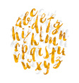Hand drawn gold watercolor alphabet made with vector image