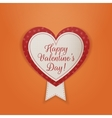 Happy Valentines Day Textile Badge with Ribbon vector image vector image