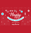 happy winter holidays concept banner simple style vector image