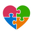 heart puzzle with 4 pieces or autism awareness vector image