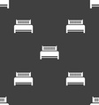 Hotel bed icon sign Seamless pattern on a gray vector image vector image