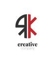 initial letter rk creative elegant circle logo vector image vector image