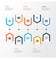 job colorful outline icons set collection of id vector image vector image