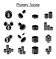 money coin icon set vector image vector image