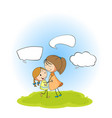 mother and daughter with speech bubbles vector image vector image