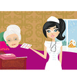 nurse takes care of a sick elderly lady vector image vector image