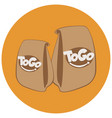 paper bags with fast foodtake away cafe logo vector image vector image