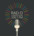 radio banner with microphone and place for text vector image vector image
