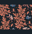 seamless coral background with fish pattern vector image