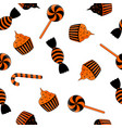 seamless pattern of halloween candy black and vector image vector image