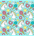 seamless pattern with unicorn on blue background vector image