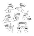 set female hands in different gestures vector image