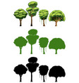 set of different tree design vector image