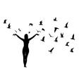 Silhouette of girl and birds vector image vector image