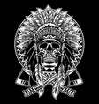 skull of native american warrior with tomahawk vector image vector image