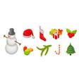 snowmen christmas icon set isometric style vector image