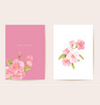 wedding invitation sakura cherry flowers leaves vector image