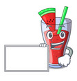 with board character tasty beverage fruit vector image vector image