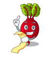 with menu beetroot with leaves isolated on mascot vector image