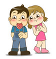 cartoon little girl and handsome boy with lollipop vector image