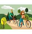 family couple cycling vector image