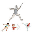archery karate running fencing olympic sport vector image