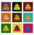 assembly of flat shading style pixel icon pizza vector image vector image