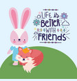 best friends cute rabbit and fox in grass vector image vector image
