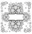 black and white vintage card with flowers vector image vector image