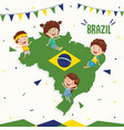 brazil flag and kids vector image