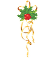 christmas gold ribbon vector image vector image