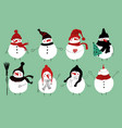 christmas set of cute snowmans vector image vector image